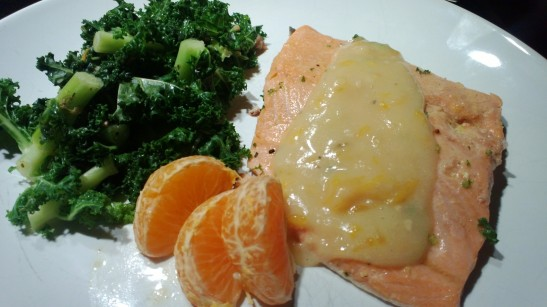 Orange Poached Salmon and Kale (all in one pan!)